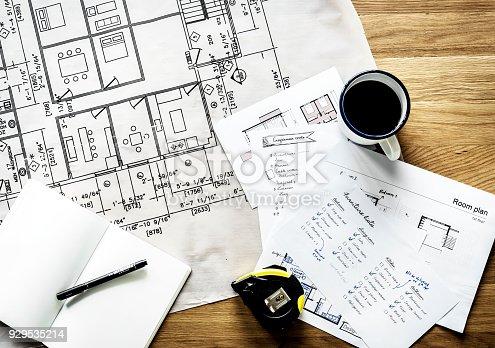 istock Closeup of house plan blueprint 929535214