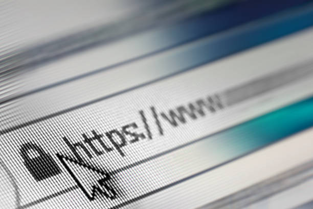 Closeup of Http Address in Web Browser in Shades of Blue - Shallow Depth of Field stock photo