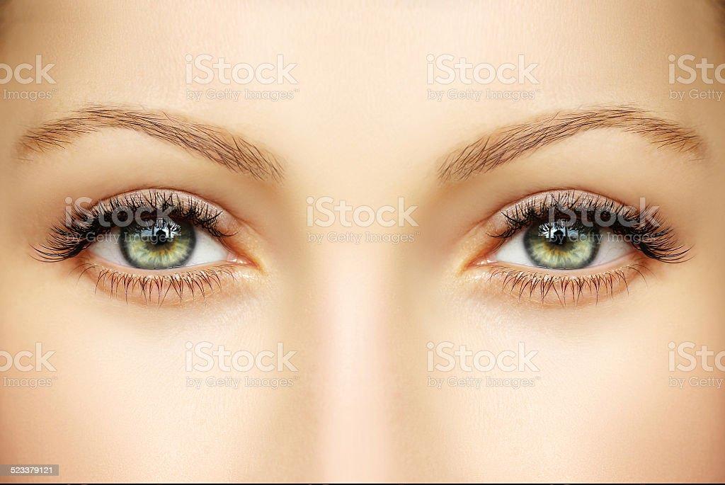 Closeup of human eyes stock photo