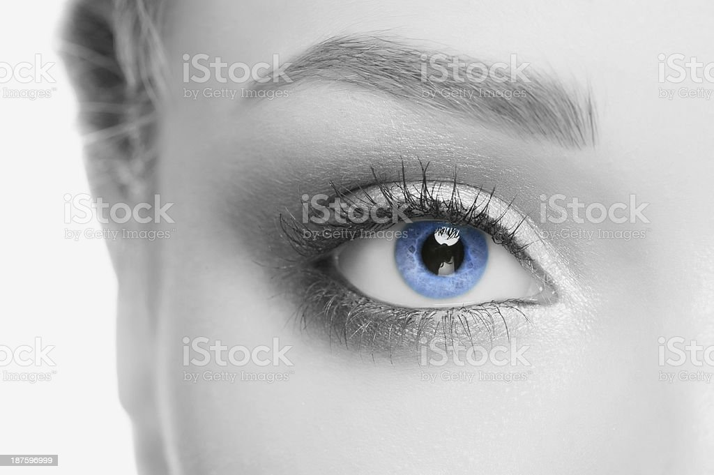 Close-up of human face with blue eye stock photo