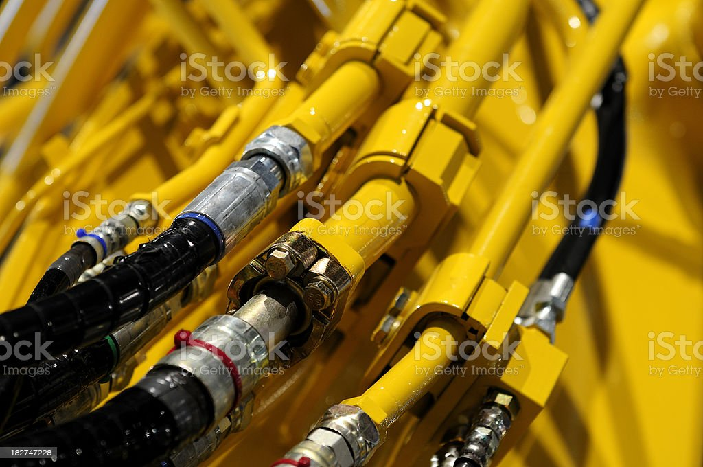 Close-up of hydraulic details from construction machinery. royalty-free stock photo