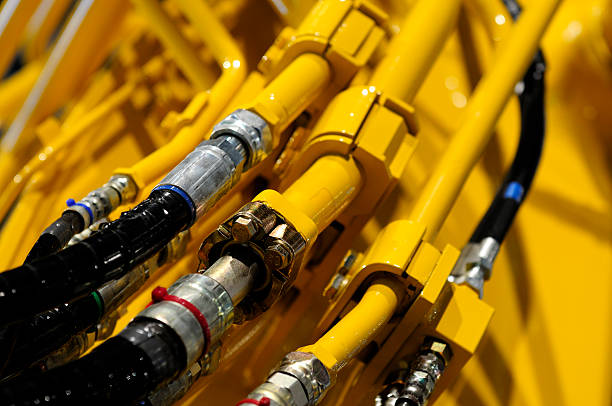 Close-up of hydraulic details from construction machinery. stock photo