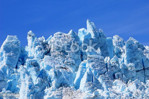 Closeup of ice sculpture of Aialik Glacier in Kenai Fjords, part of the huge Harding Ice Field, Alaska, USA
