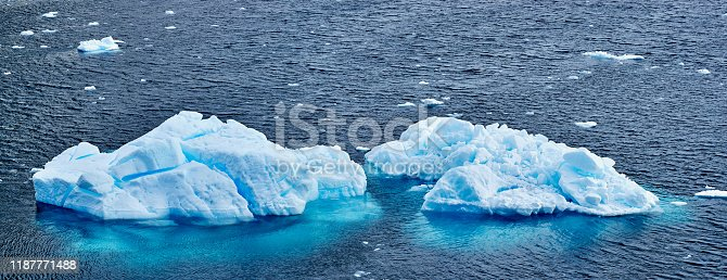 Close-up of icebergs floating on seawater, , Antarctica.