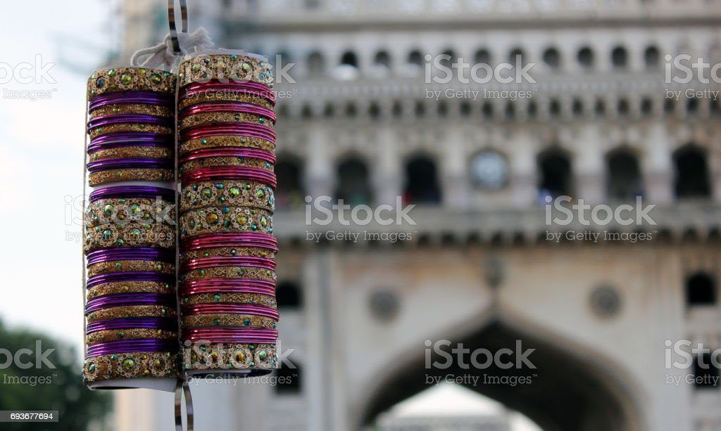 Closeup Of Indian Bangles In Market Next To 400 Year Old