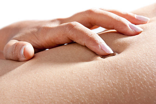 Close-up of Indian  woman's belly stock photo