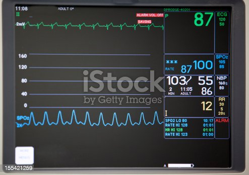 istock Close-up of intensive care unit monitoring screen 155421259