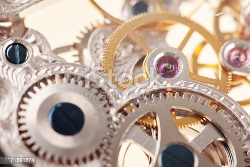 istock Close-up of interlocking parts of a watch 1171891874