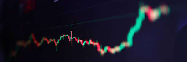 Closeup of international stock market bids graph stock photo