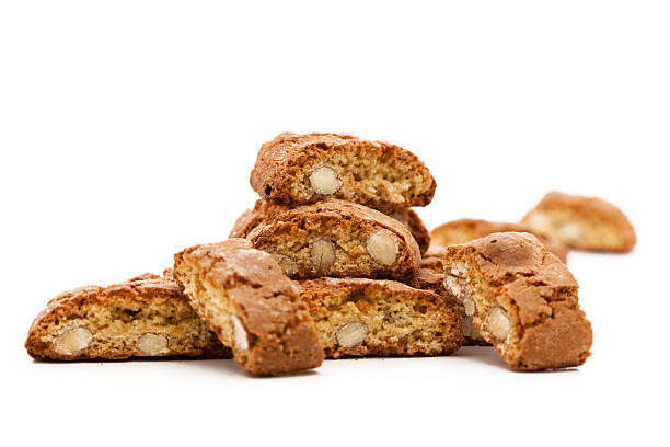 Close-up of Italian cookies on a white surface stock photo