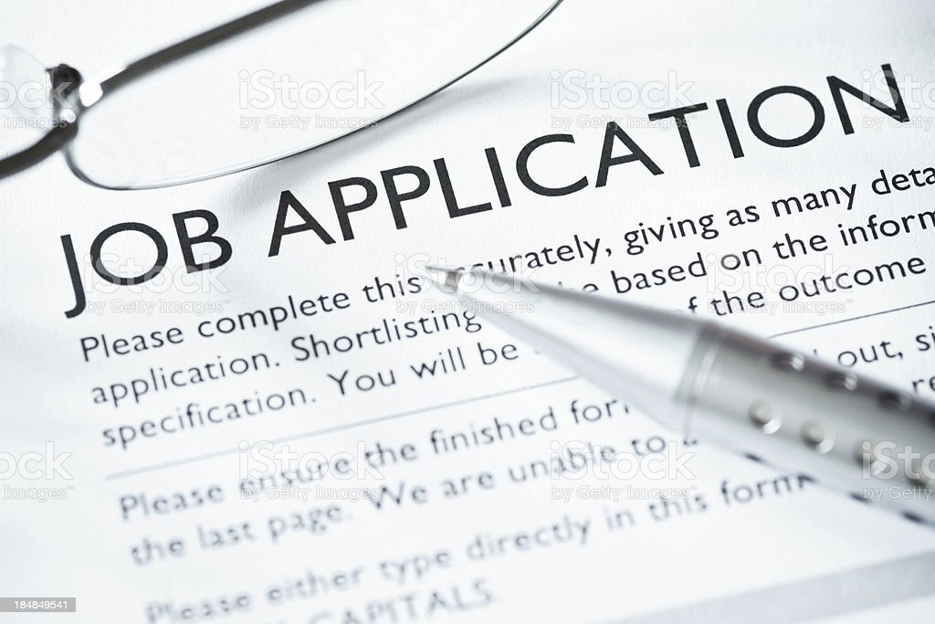 Close-up of Job Application stock photo