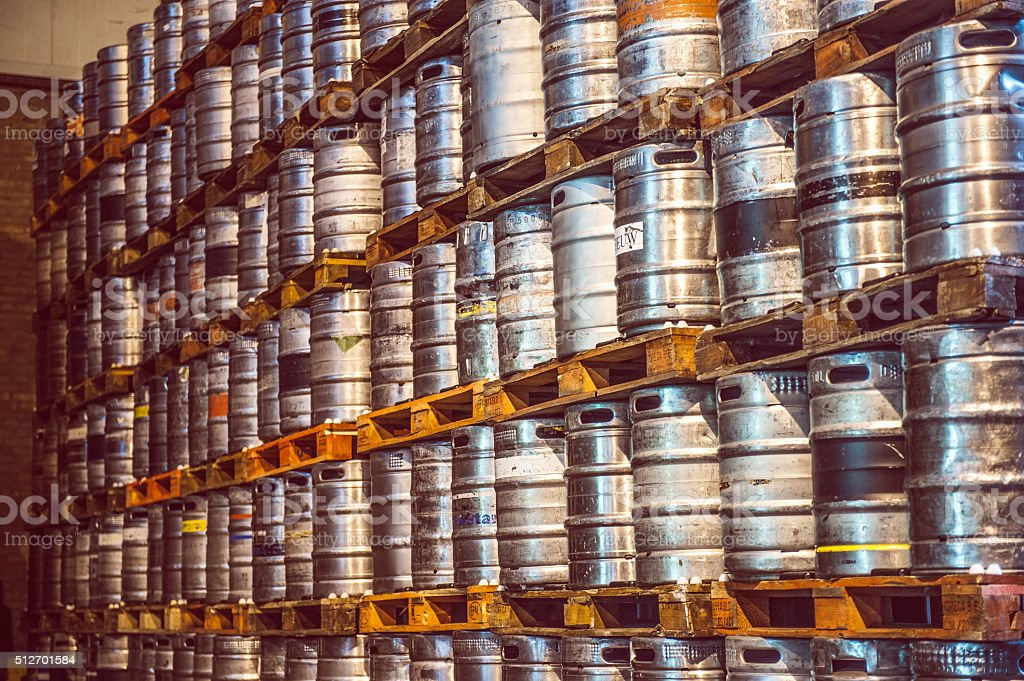 Close-up of kegs stock photo