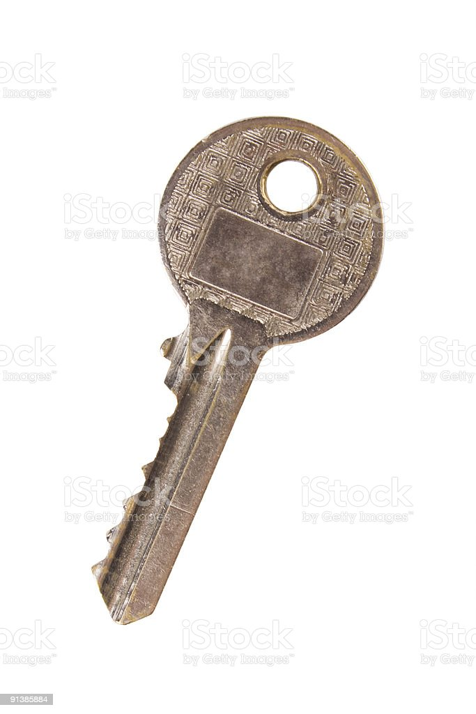Closeup of key isolated on white with clipping path stock photo