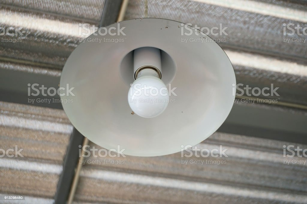 Closeup of Lamp and light bulbs on ceiling stock photo