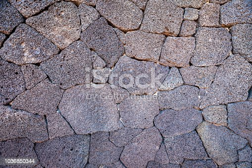 Close-up of lava rock wall, Timanfaya national park, Lanzarote island, Canary Islands, Spain