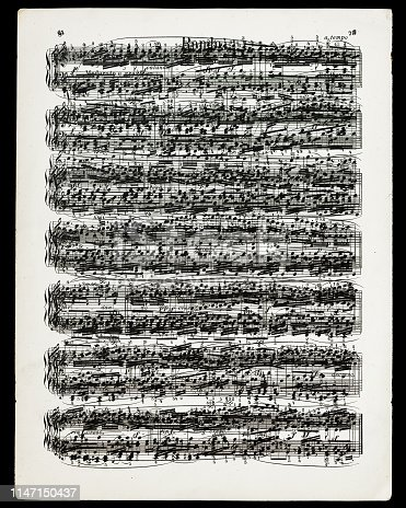 A digital composite of all the note pages to Beethoven's Rondo on a single page isolated on black.