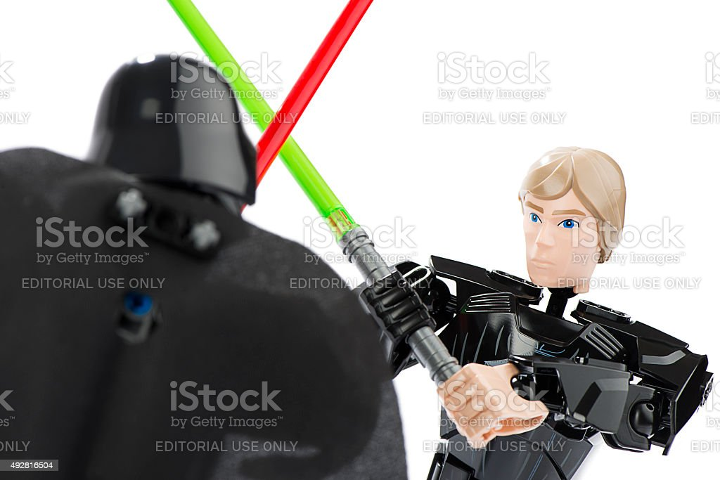Close-up of LEGO Darth Vader Vs. Luke Skywalker stock photo