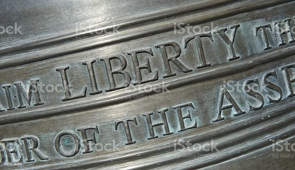 Closeup of Lettering on the Liberty Bell-Horizontal stock photo