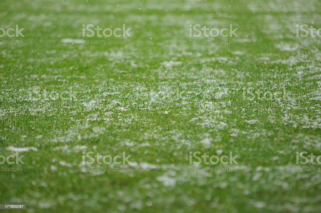 Close-up of light snow on a soccer field royalty-free stock photo