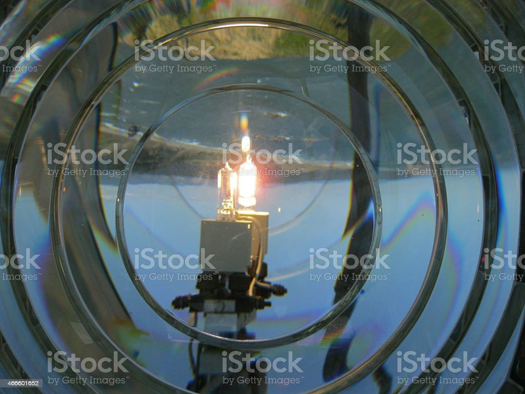Close-up of Lighthouse Lantern Through Fresnal Lens stock photo