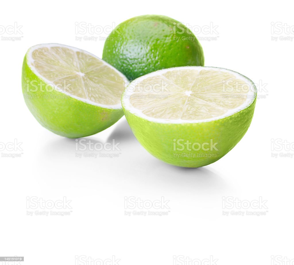 Close-up of lime on white background royalty-free stock photo