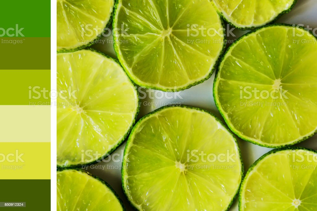b2e84966a9 Close-up of lime slices on a white background, colorful palette of nature.  Summer flavor. Concept harmony and balance of nature. - Stock image .