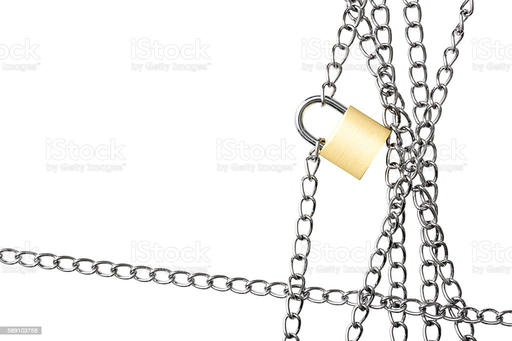 Close-up of locked padlock with chain frame on white background stock photo