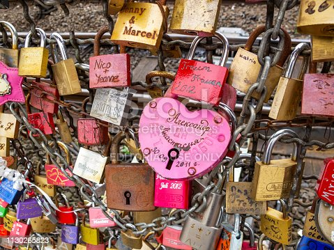 Cologne, Germany - September 18, 2012: Close-up of love padlocks on the fence between the footpath and the railway lines of Hohenzollern Bridge, texture background