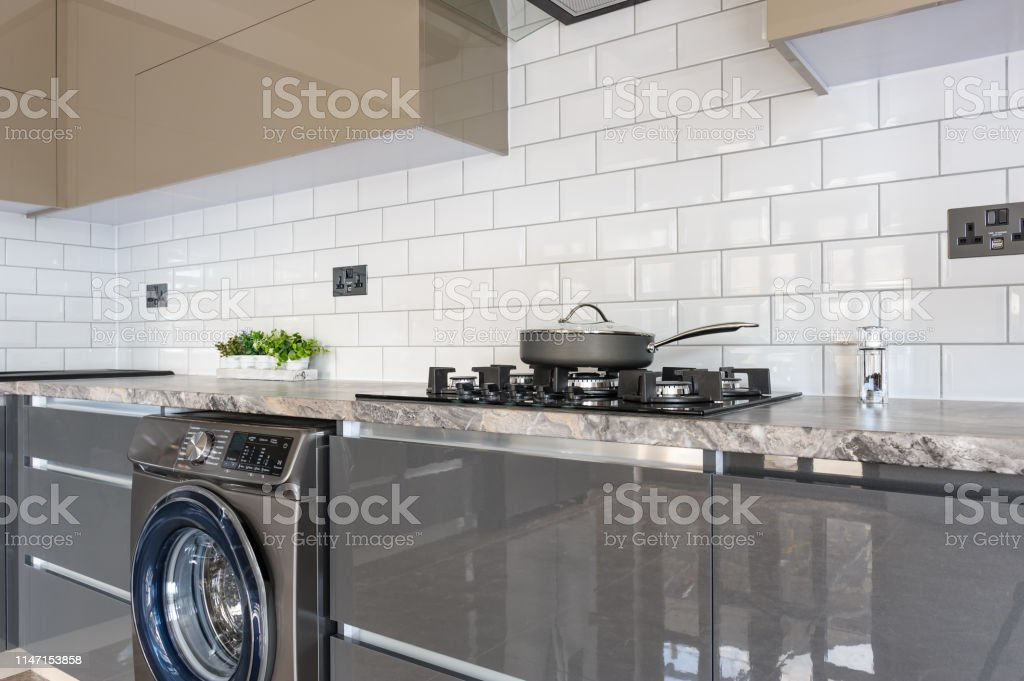 Closeup Of Luxury Modern White Beige And Grey Kitchen Interior Stock Photo Download Image Now Istock
