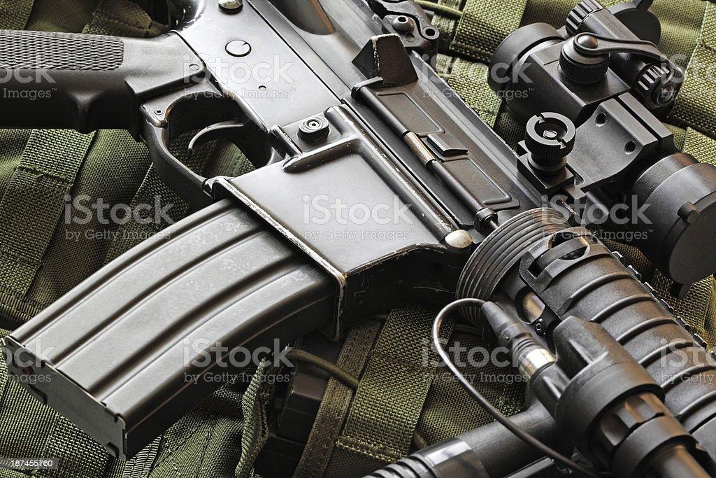 Close-up of M4A1 (AR-15) carbine stock photo