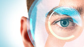 istock Close-up of male eye with round HUD display 1296683269