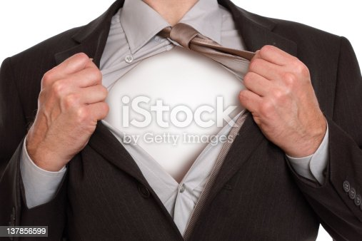 158909167istockphoto Close-up of male ripping open business suit like Superman 137856599