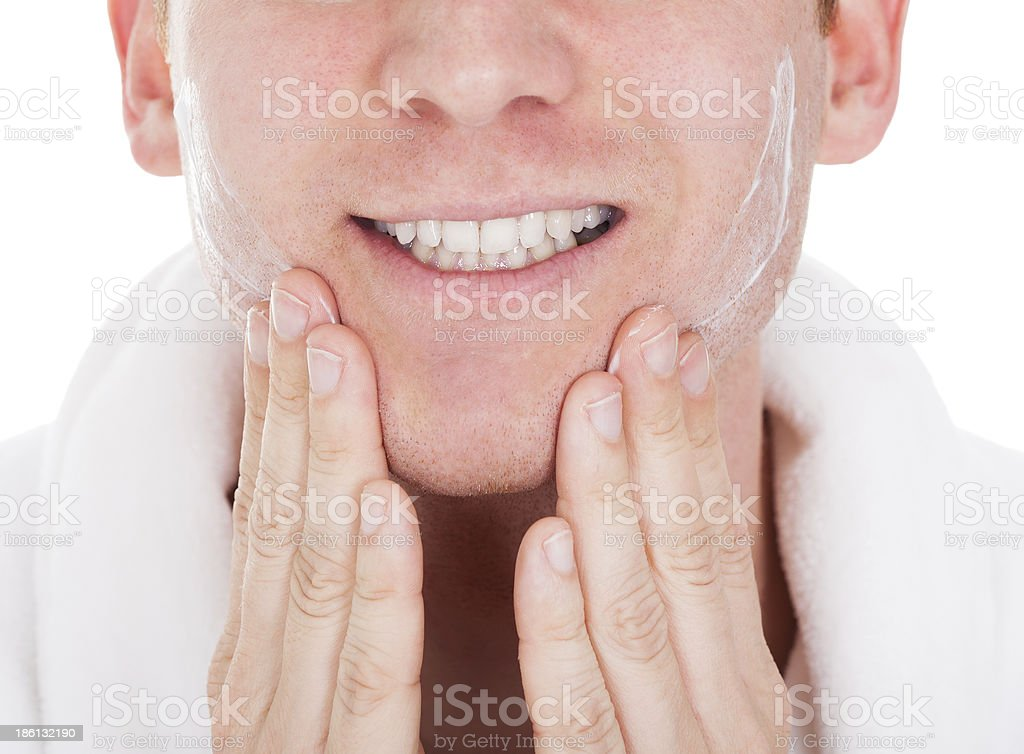 Close-up Of Man After Shaved stock photo