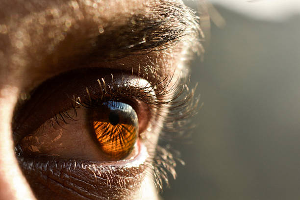 closeup of man eye - eye stock pictures, royalty-free photos & images