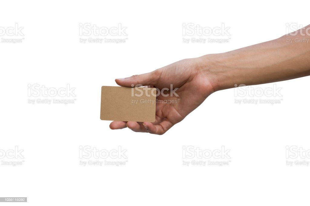 Close-up of man hand holding showing empty brown card isolated on white background include clipping path easy for use. stock photo