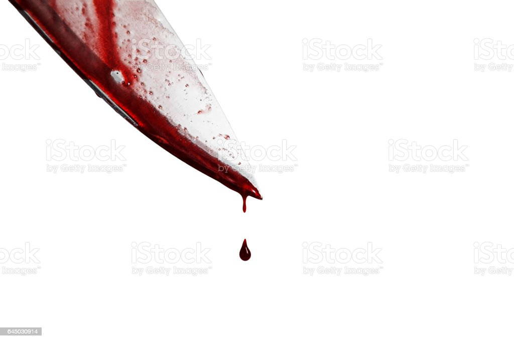 close-up of man holding knife smeared with blood and still dripping., Isolated on white background. stock photo