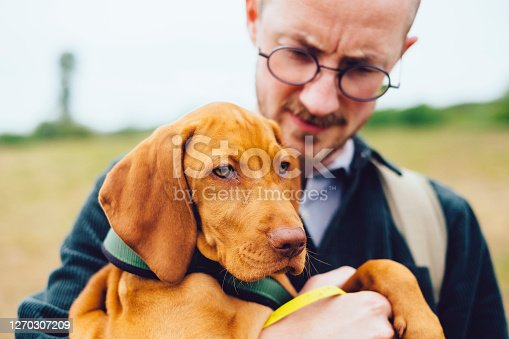 Young Hiking Man Holding Vizsla Dog, Alt-Lübars, Berlin, Germany