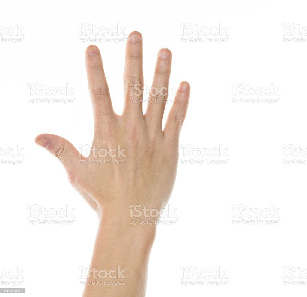 Close-up of man palm isolated on white background stock photo