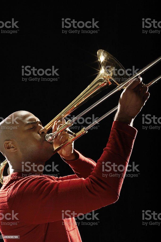 Closeup Of Man Playing Trombone stock photo