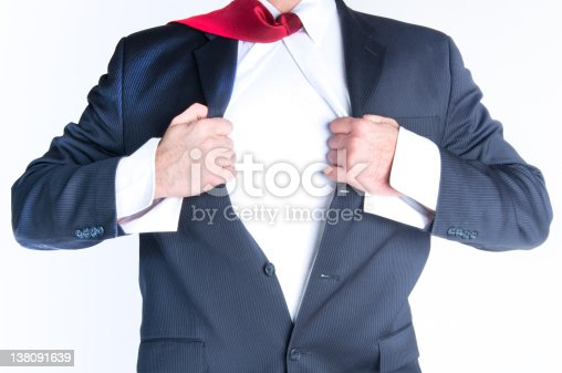 158909167istockphoto Close-up of man ripping suit jacket and shirt open 138091639