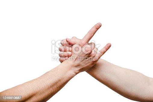 istock Closeup of man shaking hands 1249910687