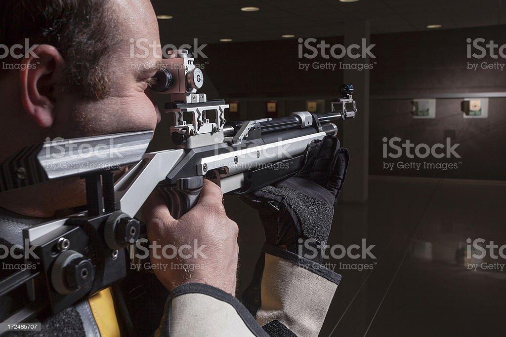 Close-up Of Man Shooting Target stock photo