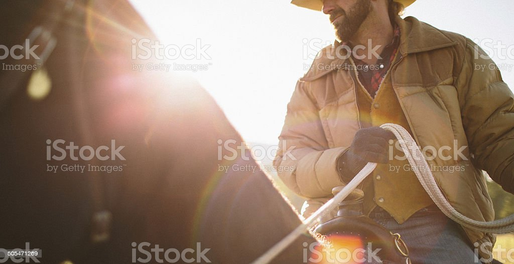 Close-up  of man sitting on horse with sunglare stock photo
