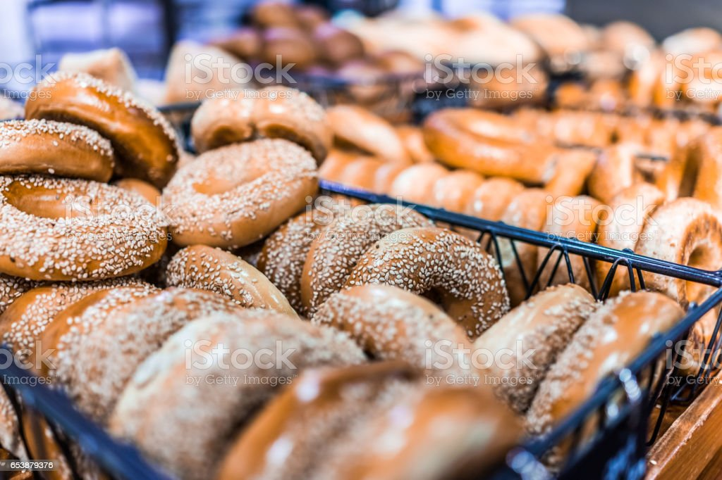 Closeup of many bagels in bakery stock photo
