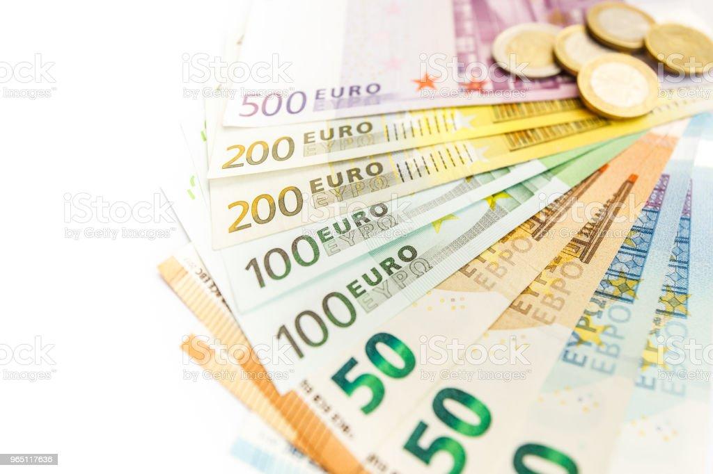Closeup of many euro bills royalty-free stock photo