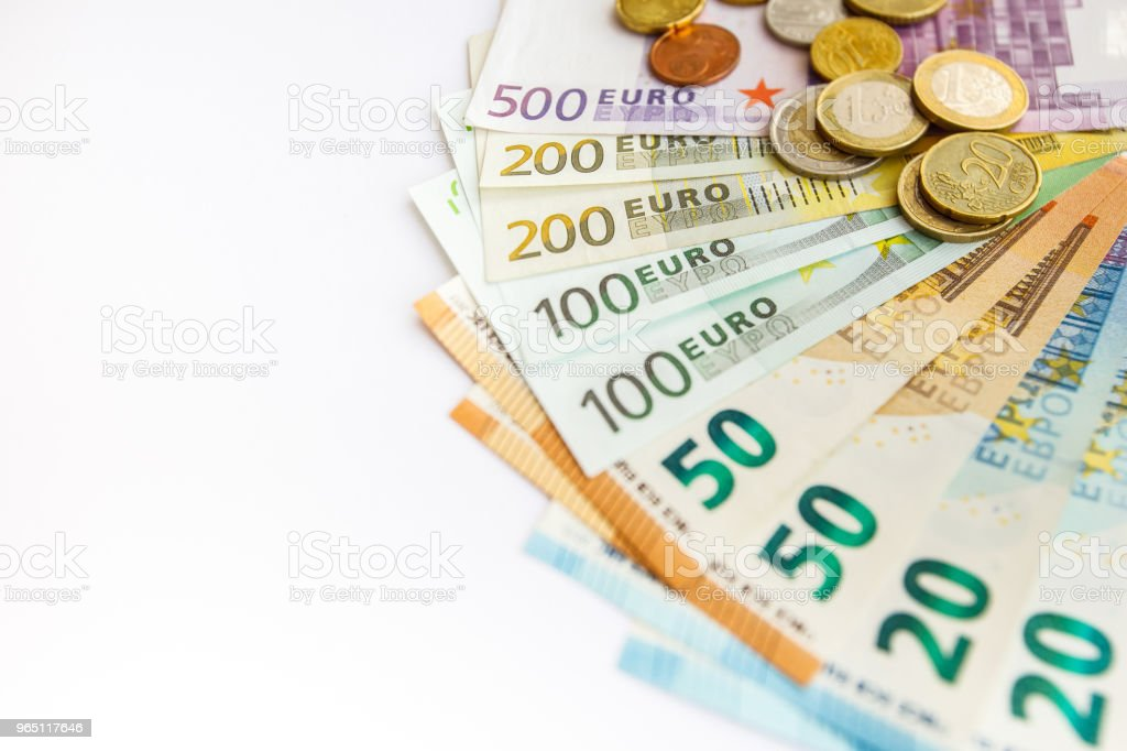 Closeup of many euro bills royalty-free stock photo
