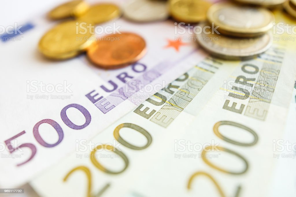 Closeup of many euro bills zbiór zdjęć royalty-free