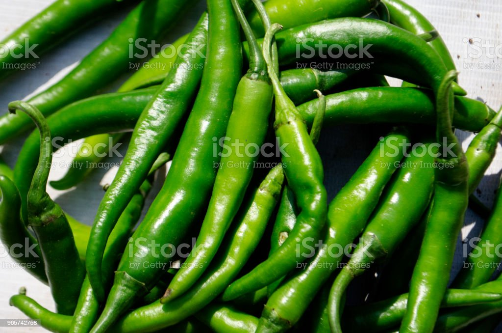close-up of many green hot chili peppers - Royalty-free Agricultural Fair Stock Photo