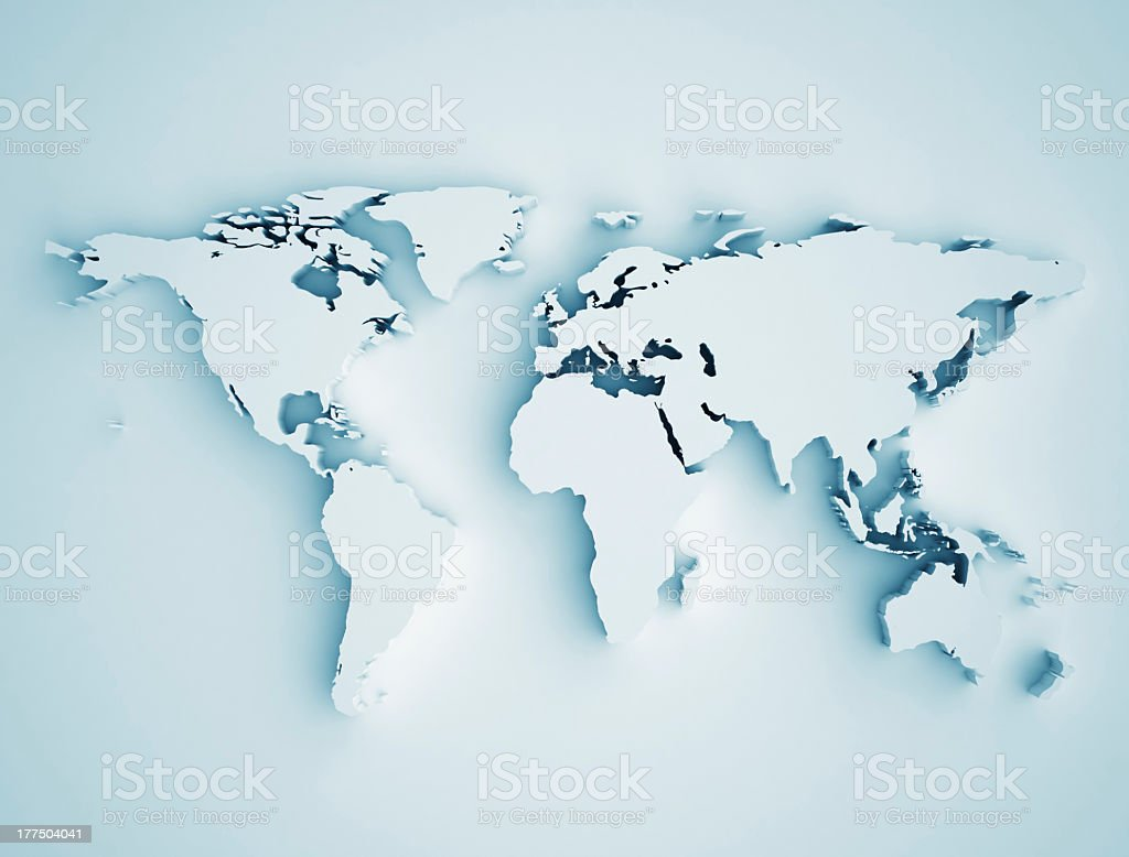 Close-up of map showing the whole world stock photo