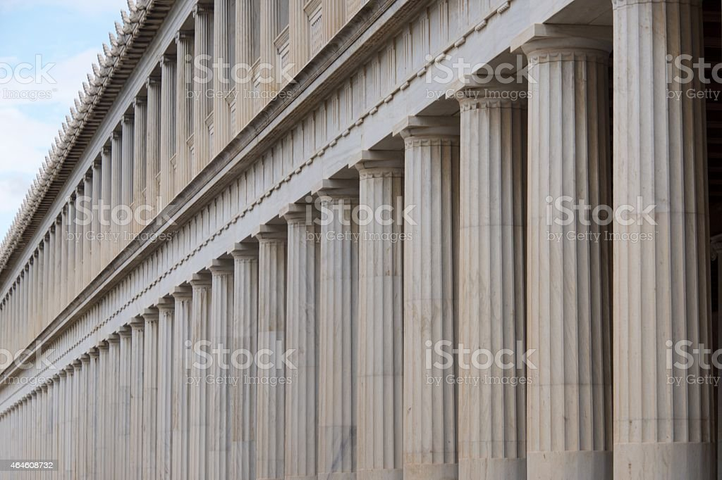 Close-up of marble Stoa of Attalos colonnades stock photo